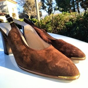 Size 8 new Bruno Magli suede slingbacks